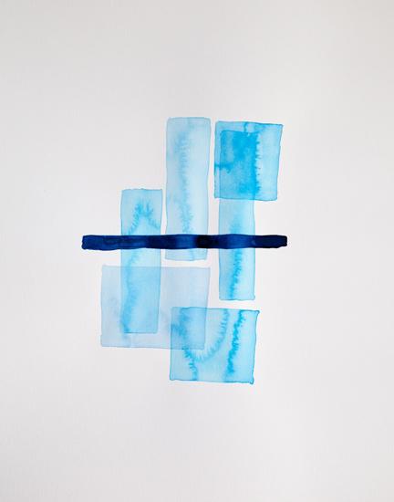 Bastienne Schmidt  Cyan Geometry II , 2013 mixed media on paper 30 x 22 in.