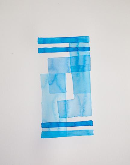 Bastienne Schmidt  Cyan Geometry III , 2013 mixed media on paper 30 x 22 in.