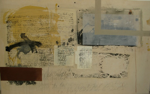 Maria Noel  A Letter from a Woman to a Man in 1942 , 2009 mixed media on canvas 37 1/2 x 62 in.