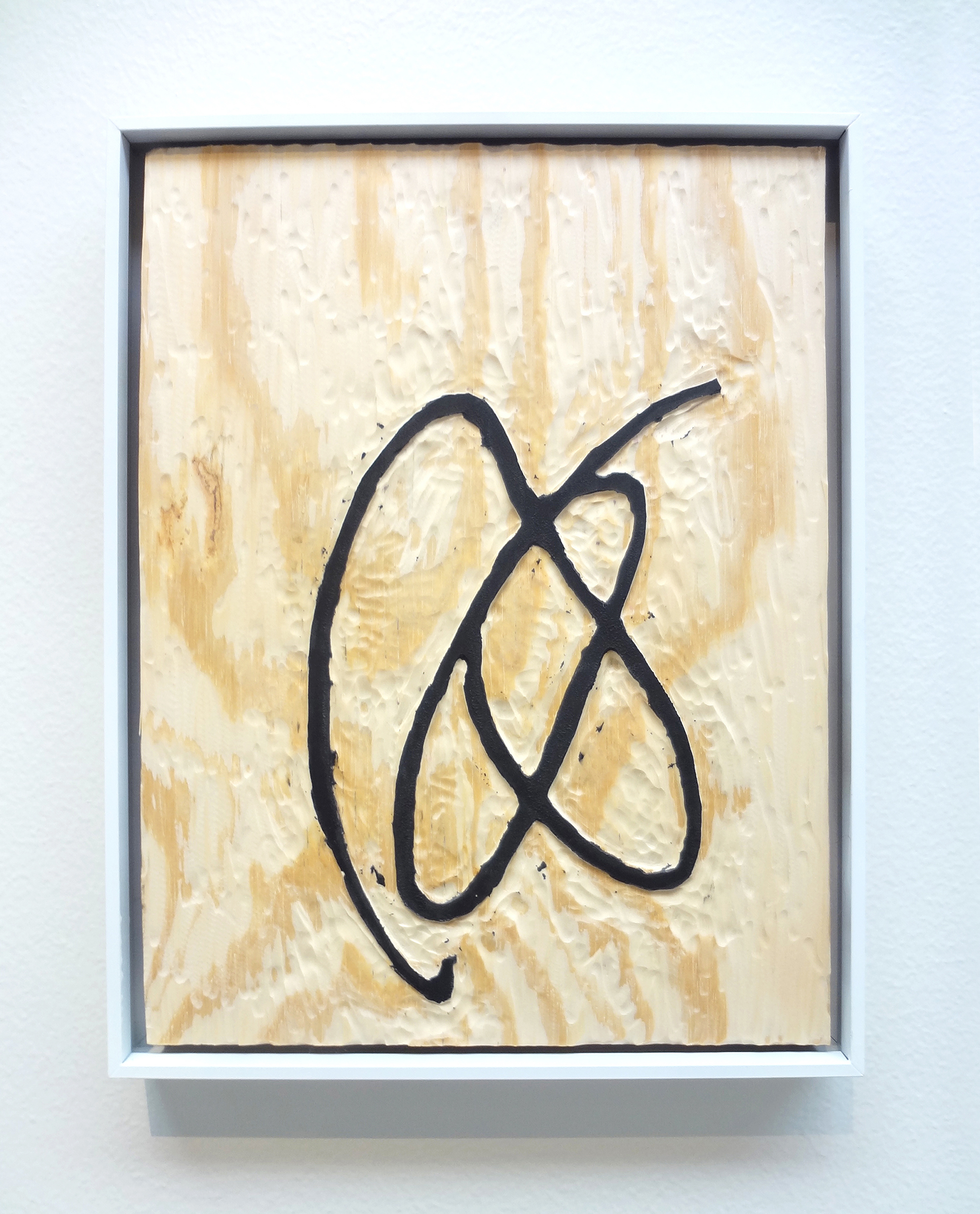 Meghan Gerety  Untitled 06 , 2015 blockprint ink on plywood 15 x 12 in.framed in aluminum