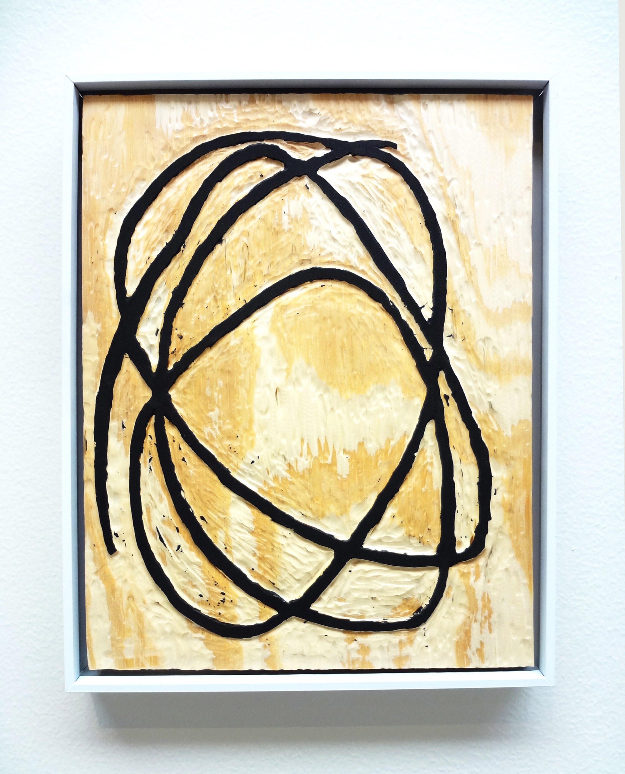 Meghan Gerety  Untitled 07 , 2015 blockprint ink on plywood  15 x 12 in.framed in aluminum