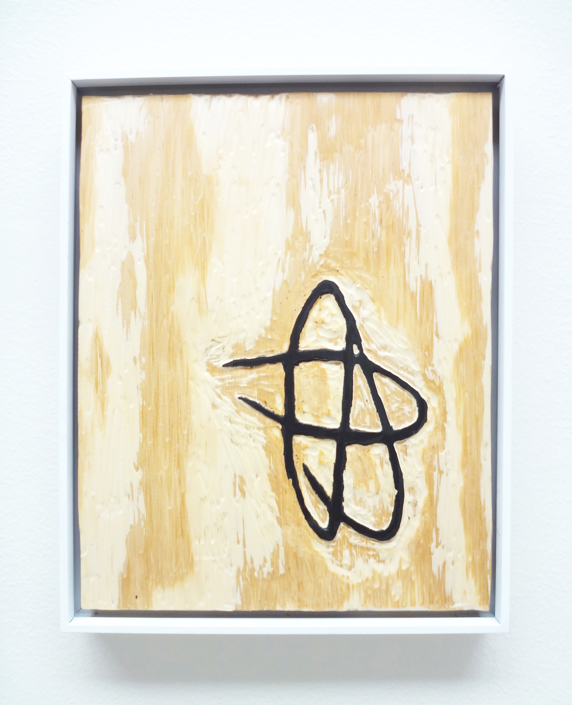 Meghan Gerety  Untitled 09 , 2015 blockprint ink on plywood 15 x 12 in.framed in aluminum