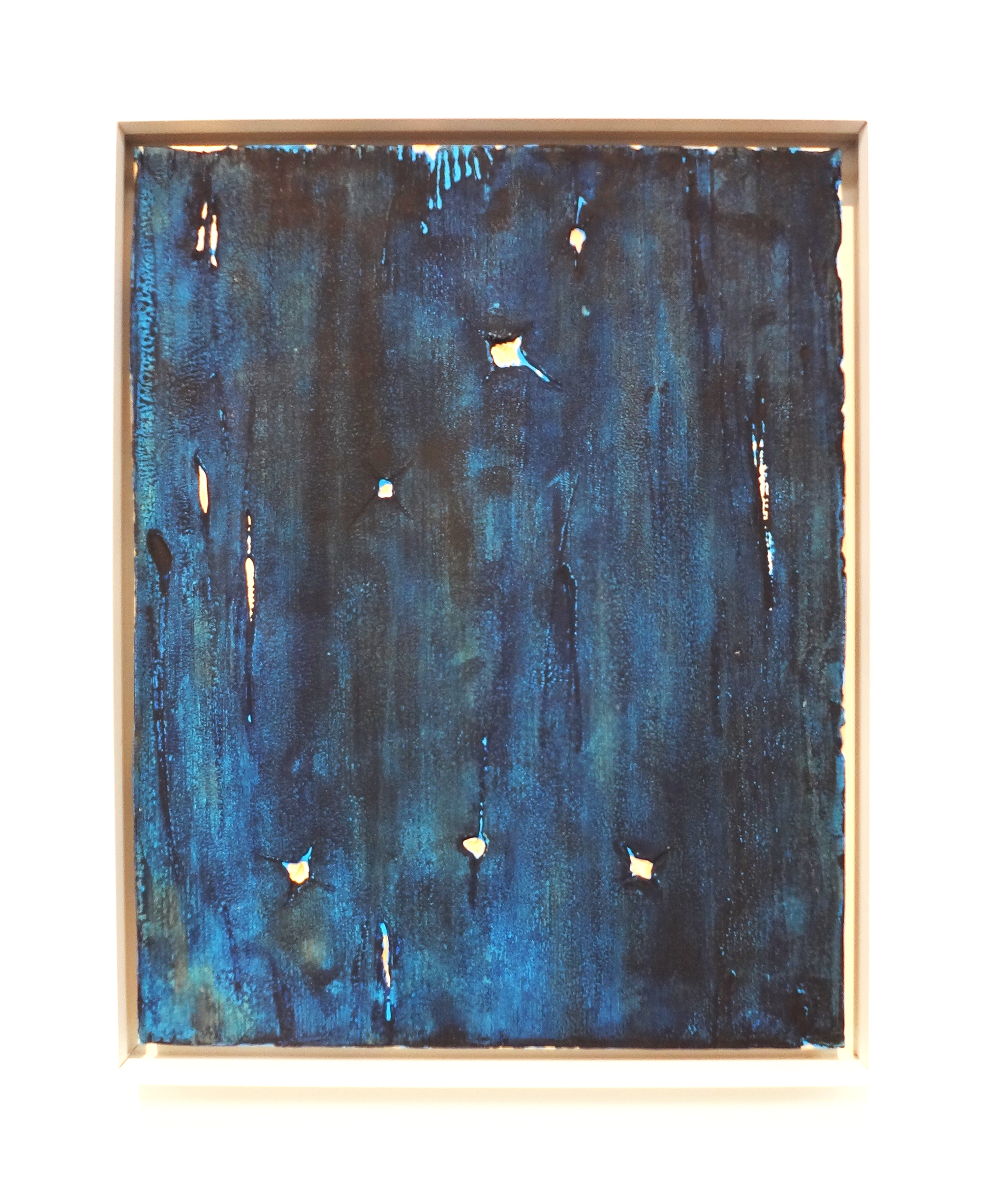 Meghan Gerety  11.11.15 9:11PM SW , 2015 blockprint ink on plywood, 15 x 12 in.framed in aluminum