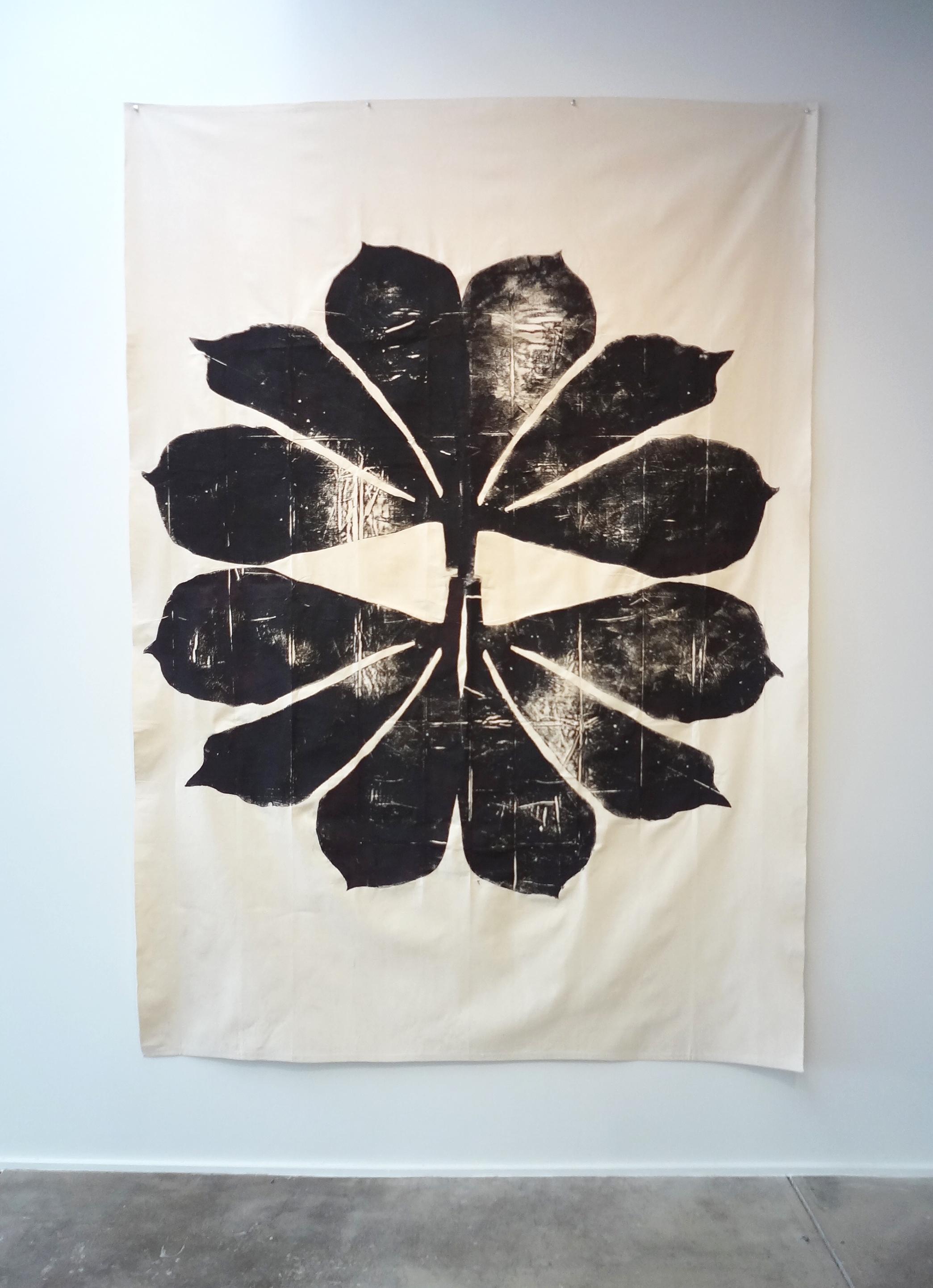 Meghan Gerety  Black Star , 2015 blockprint ink on canvas 108 x 72 in.