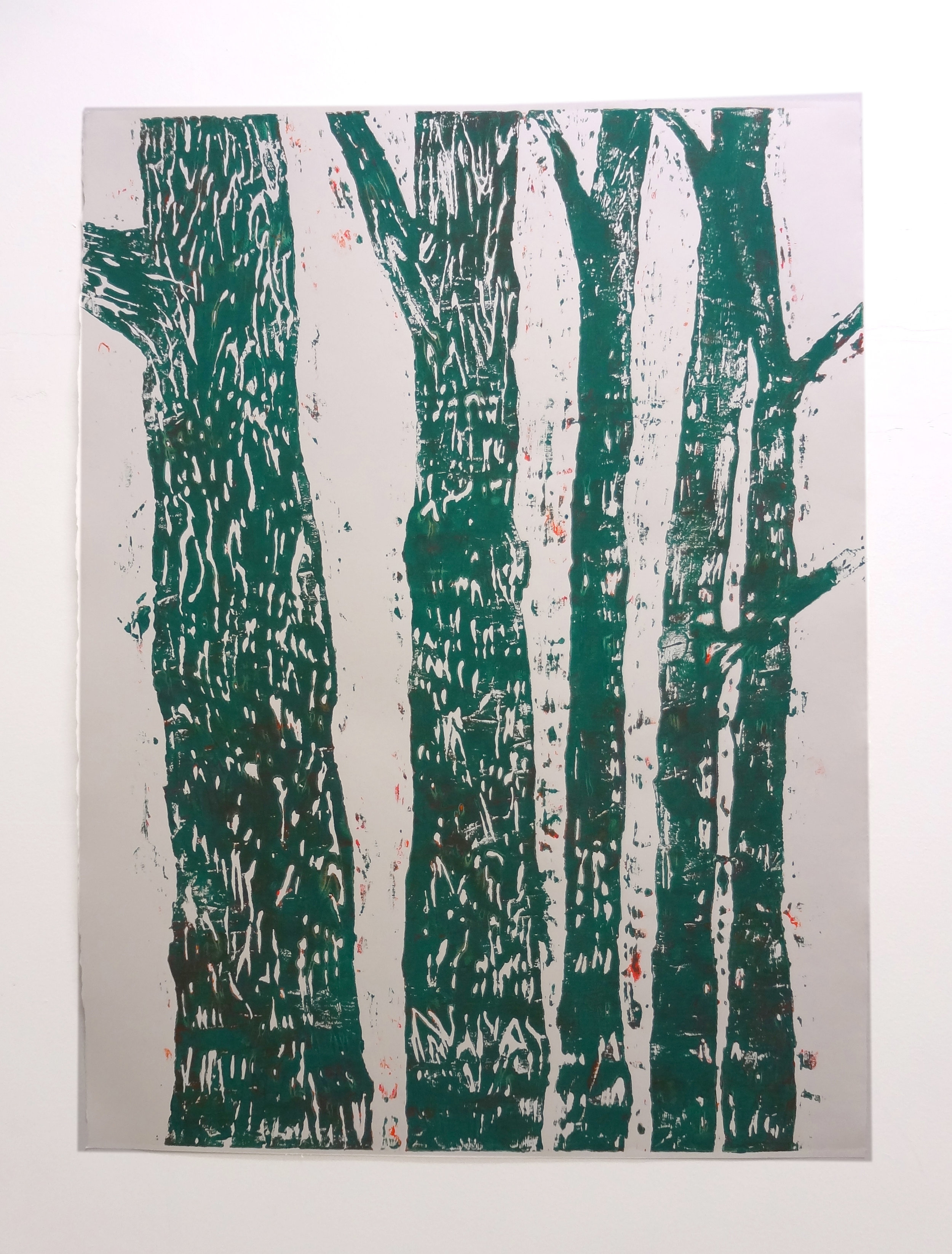 Meghan Gerety  Green Trees , 2012 blockprint ink on blockprint paper 40 x 30 in.   SOLD
