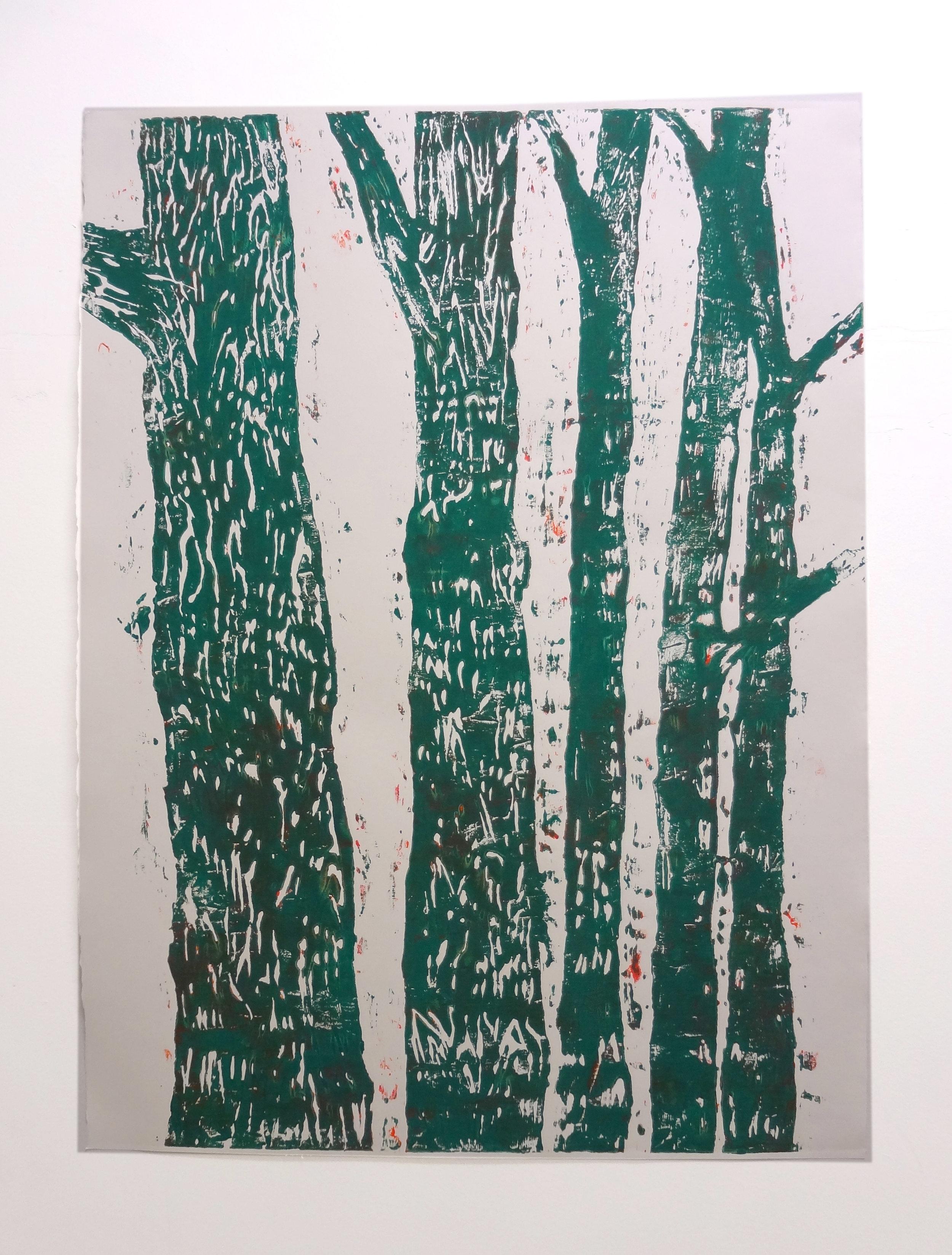 Meghan Gerety  Green Trees , 2012 blockprint ink on blockprint paper 40 x 30 in.  SOLD