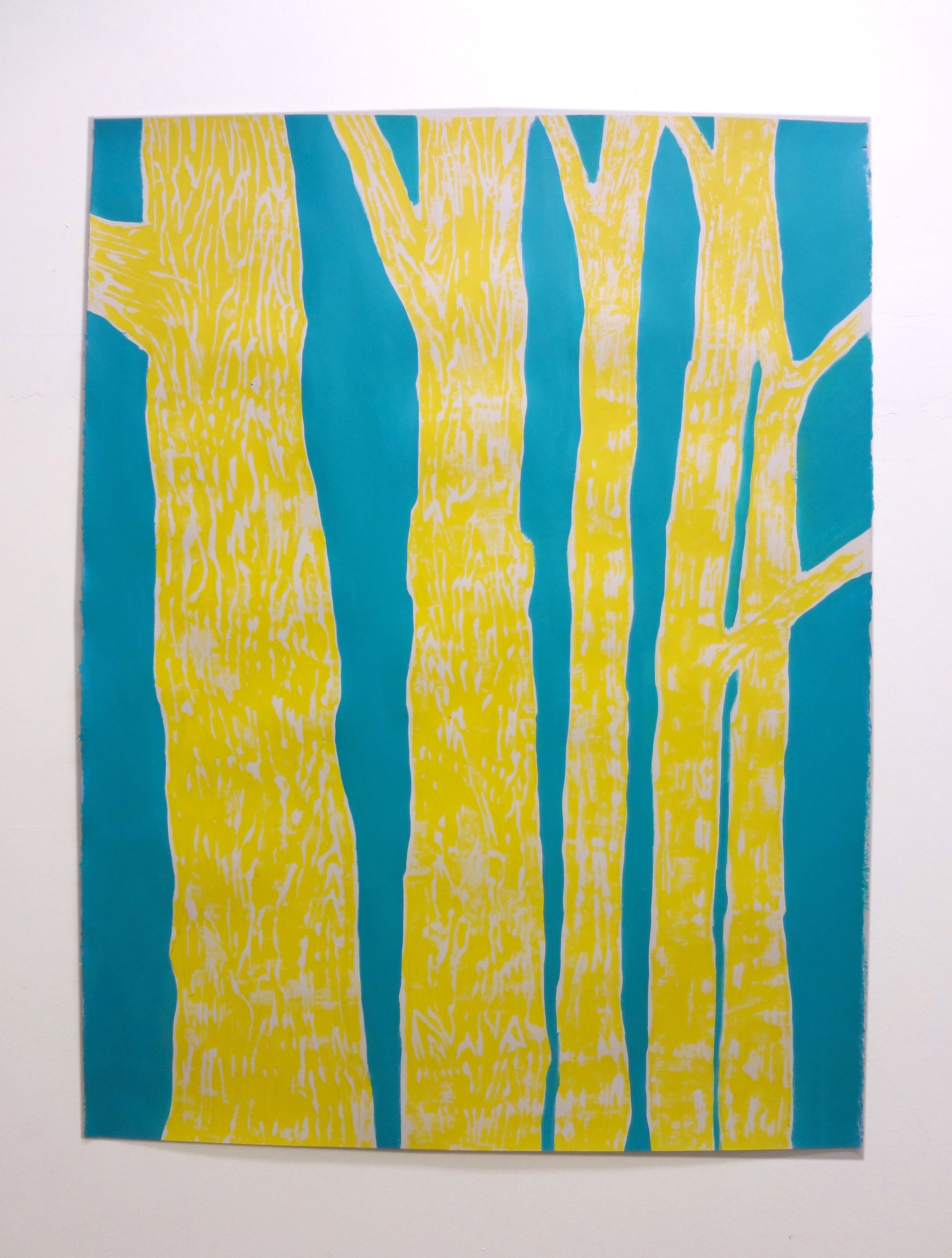 Meghan Gerety  Yellow on Blue Trees , 2012 blockprint ink on blockprint paper 40 x 30 in.