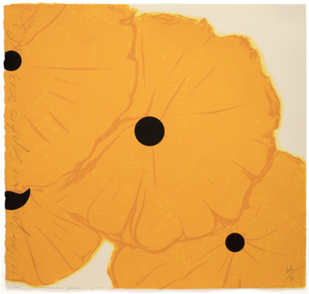 Donald Sultan  Yellow Poppies Sept. 12, 2013 , 2013 8 color screenprint with flocking 19 x 20 in.
