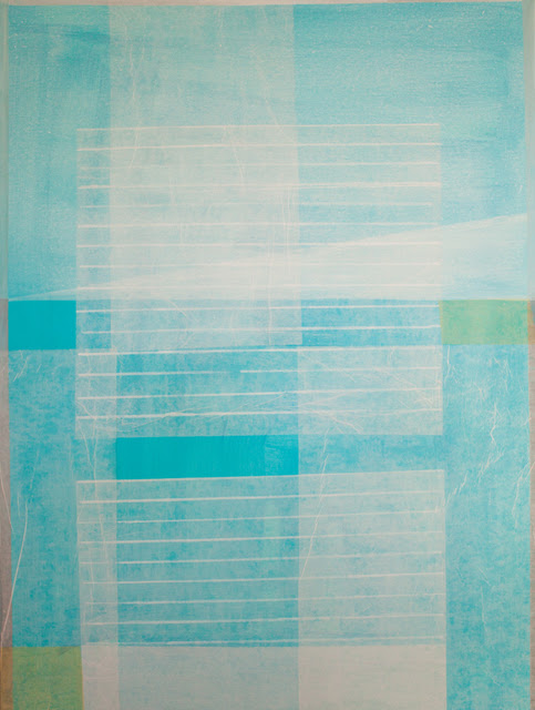 Bastienne Schmidt  Turquoise Geometry 2 , 2016 polymer paint on tracing paper on canvas 48 × 36 in.
