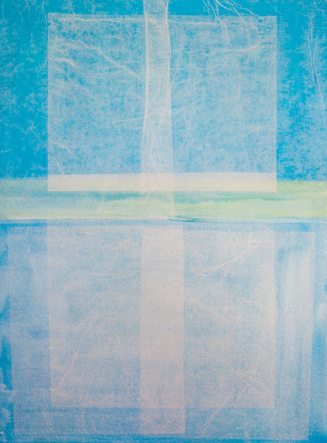 Bastienne Schmidt  Turquoise Geometry 1 , 2016 polymer paint on tracing paper on canvas 48 × 36 in.