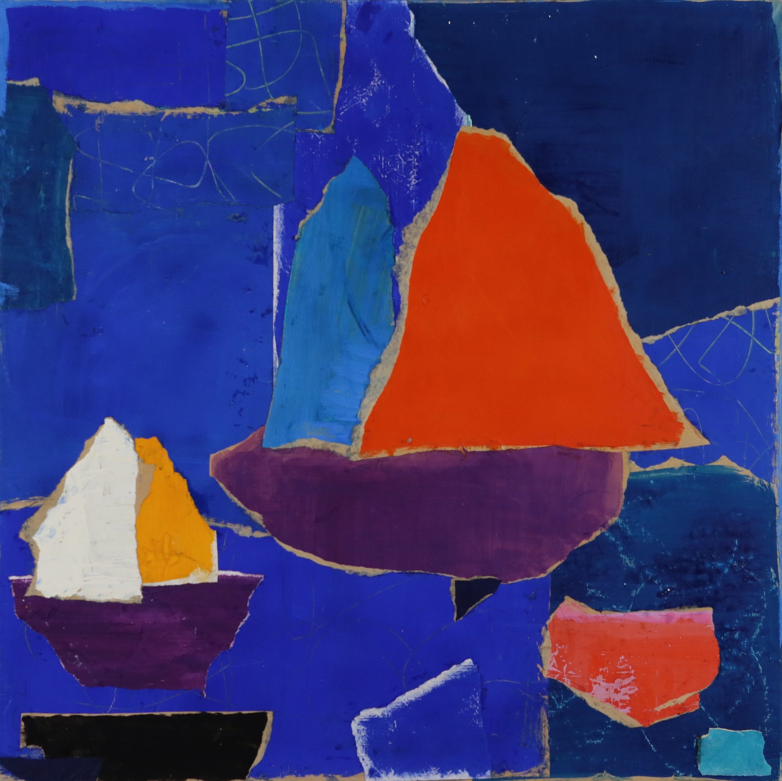 Charlotte Culot  Red Sail , 2014 mixed media on paper laid down on canvas 44 x 44 in. SOLD