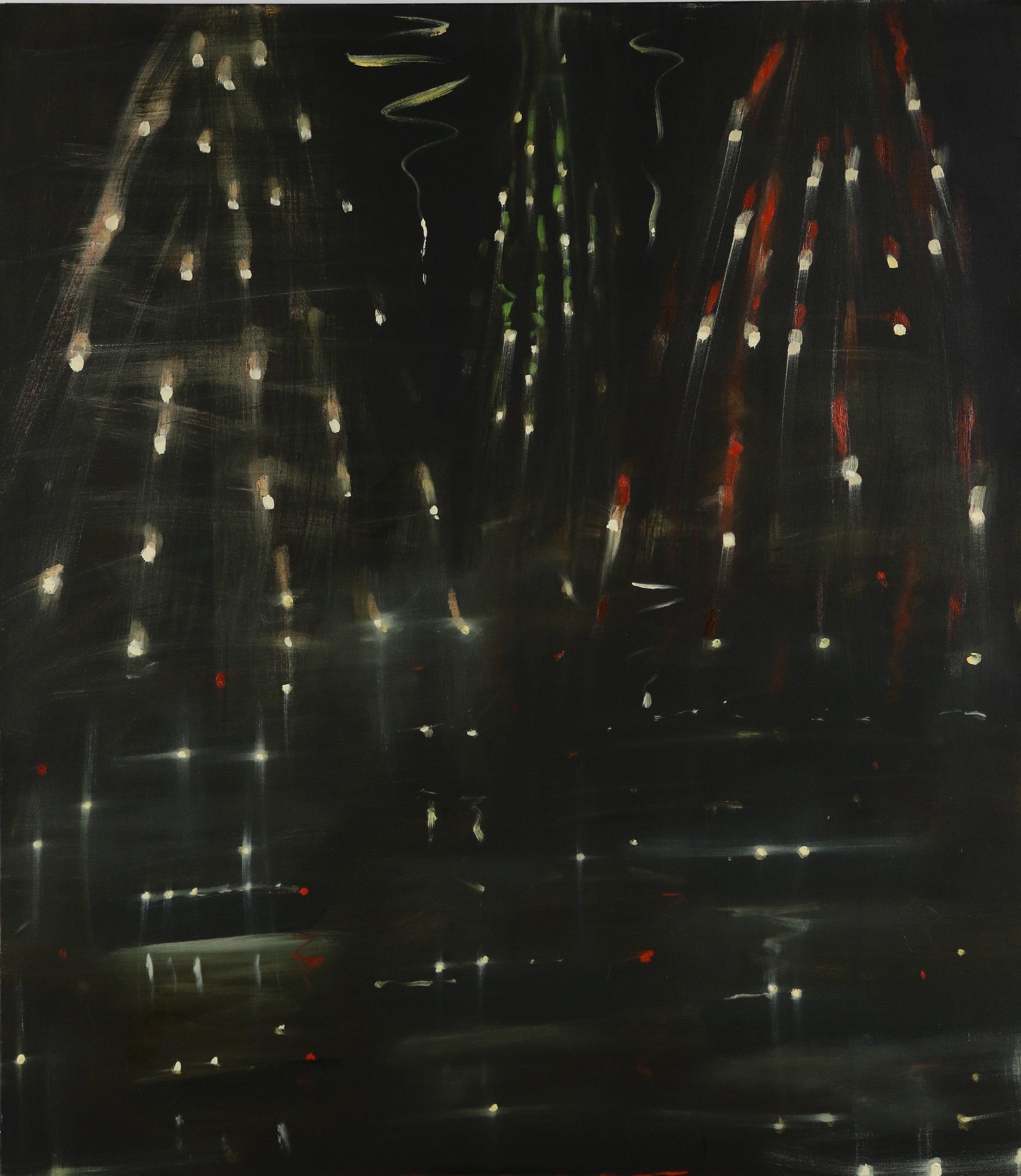 Kathryn Lynch  Fireworks  oil on canvas 48 x 42 in.