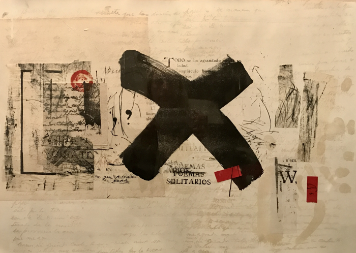 Maria Noel  Untitled , 2009 mixed media (lithography and collage) on Fabriano paper 19 3/4 x 27 1/2 in.