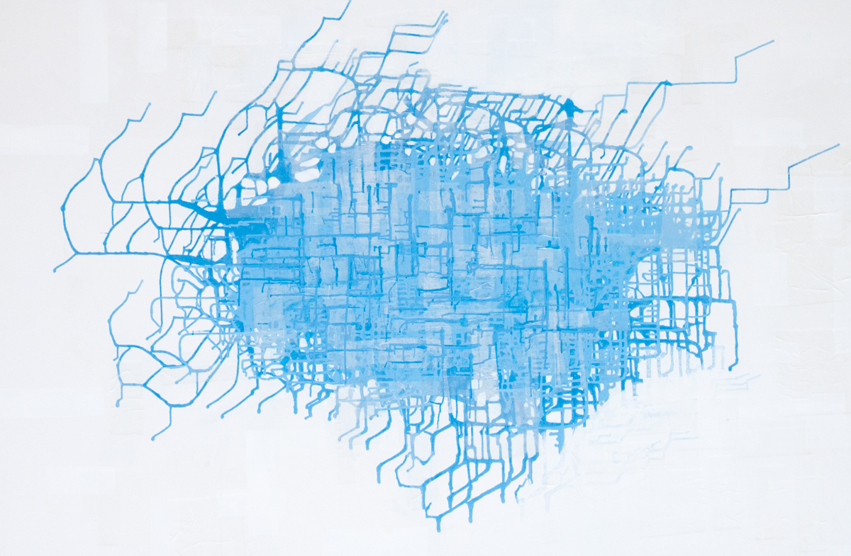 Bastienne Schmidt  City Topos , 2015 mixed media on canvas 48 x 72 in.