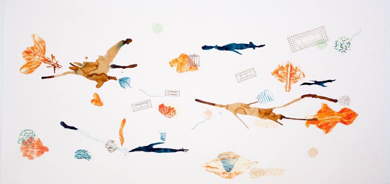 Bastienne Schmidt  Mind Maps  mixed media on paper 42 x 86 in.