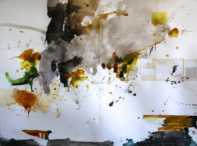 Michael Rich  Song of the Dog , 2010 mixed media on paper 44 x 60 in.