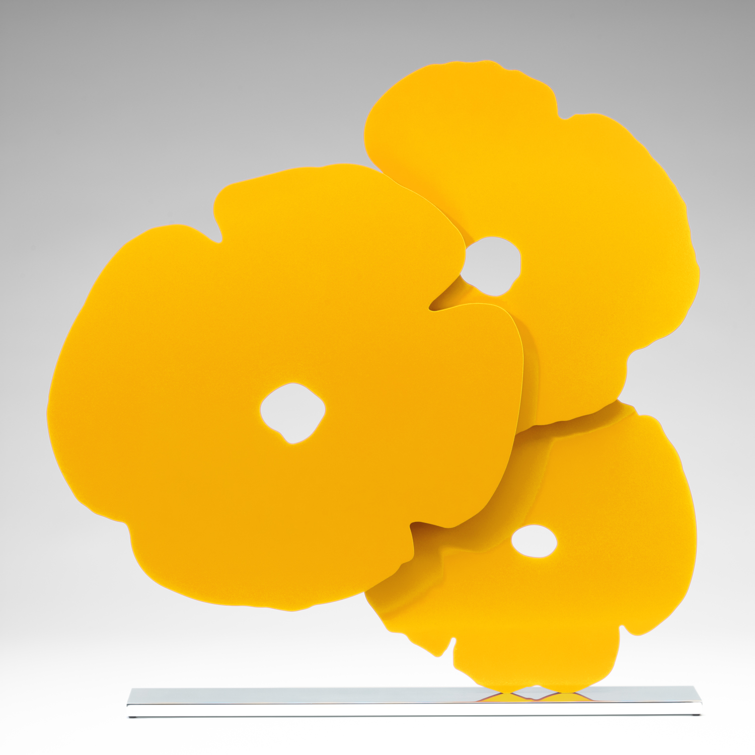 Donald Sultan  Big Yellow Poppies ,  2015, 2015 3/4 in. thick painted aluminum 72 x 72 in. edition of 6  comes with powder coat painted black aluminum base. A polished stainless steel base is available for an additional charge.  also available in 96 x 96 in.version