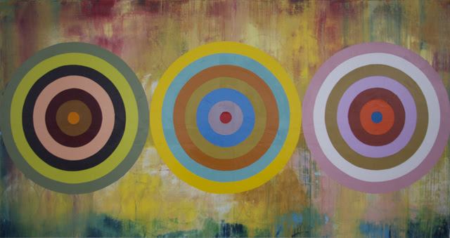 Perry Burns  Sunflower Target , 2014 oil on canvas 44 × 84 in.