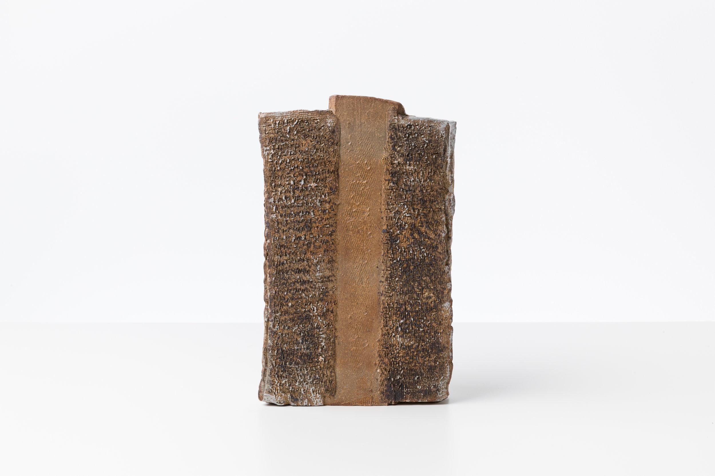 Toni Ross  Stele #5 , 2016 stoneware and black slip 11 3/4 x 7 1/4 x 4 1/4 in.