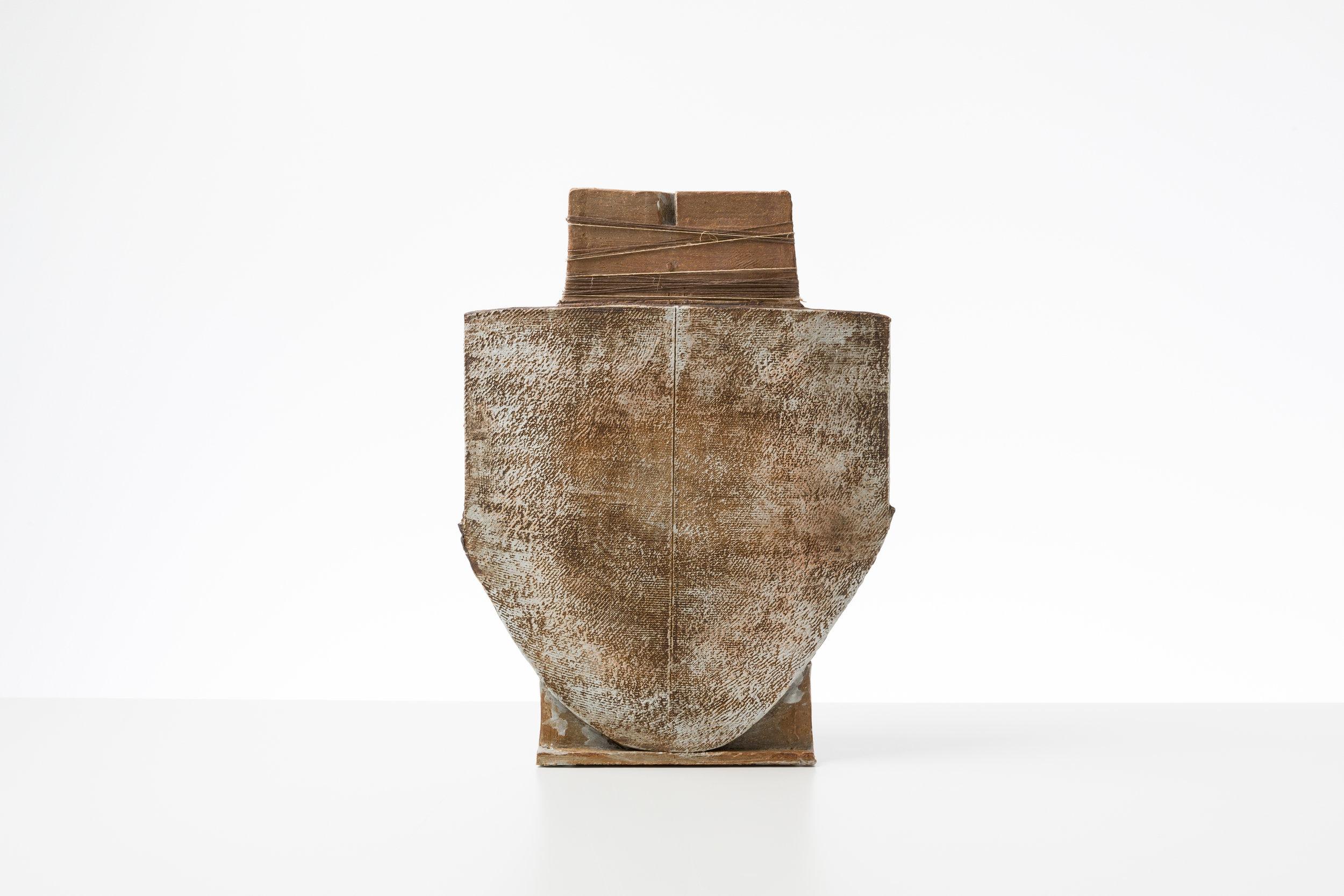 Toni Ross  Stele #19 , 2016 stoneware, slip and hemp thread 17 3/4 x 13 1/2 x 5 in.