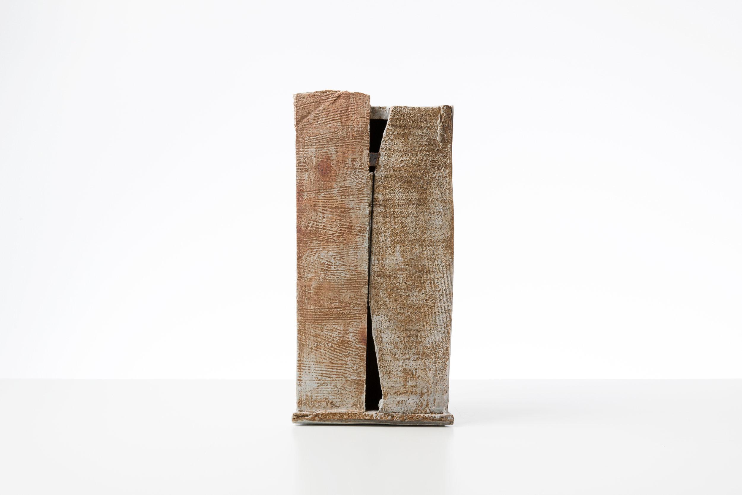 Toni Ross  Stele #21 , 2016 stoneware, slip and cotton thread 18 x 8 3/4 x 5 in.