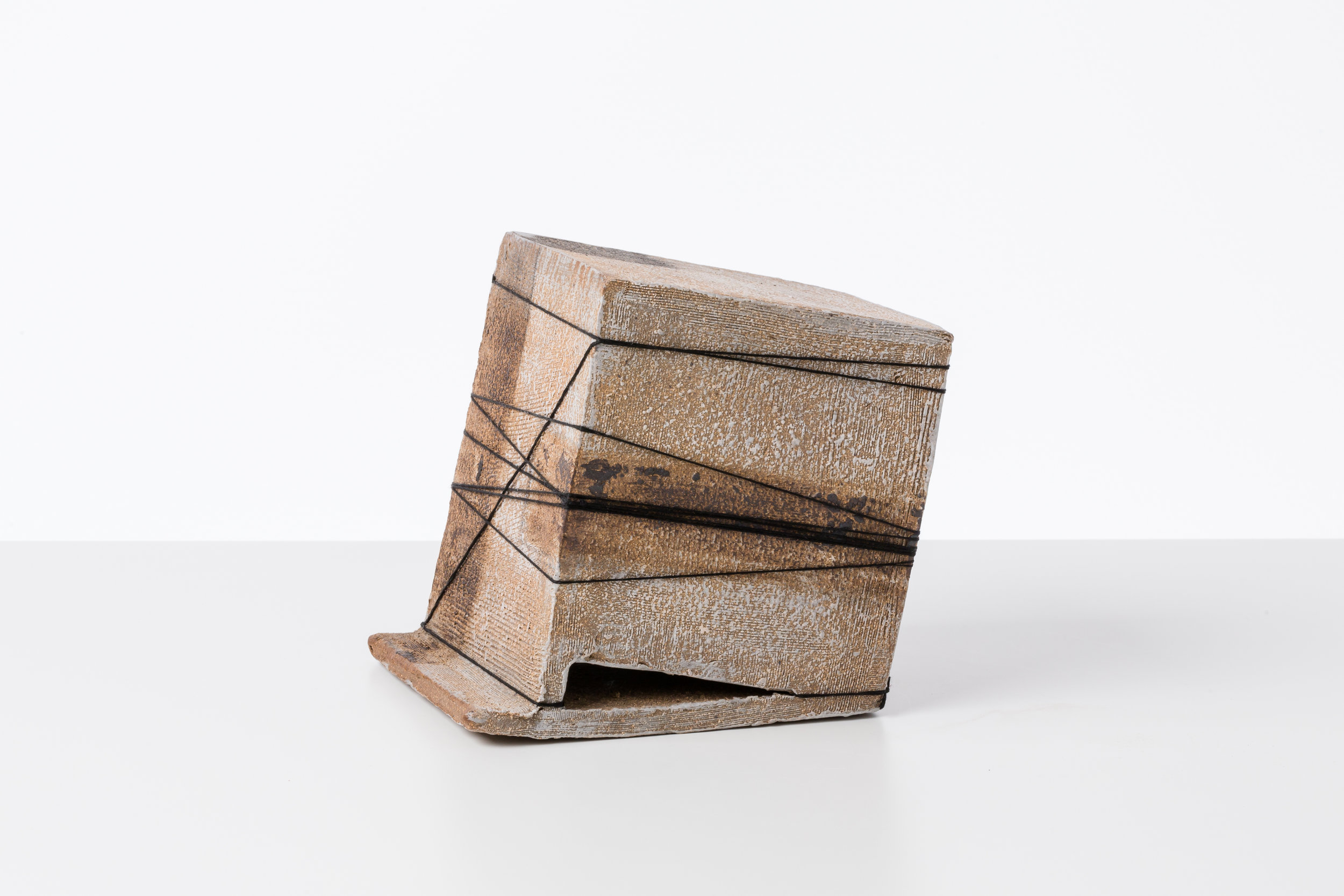 Toni Ross  Untitled (TR735)  ,  2015 stoneware, slip and cotton string 6 1/2 x 6 x 5 1/4 in.