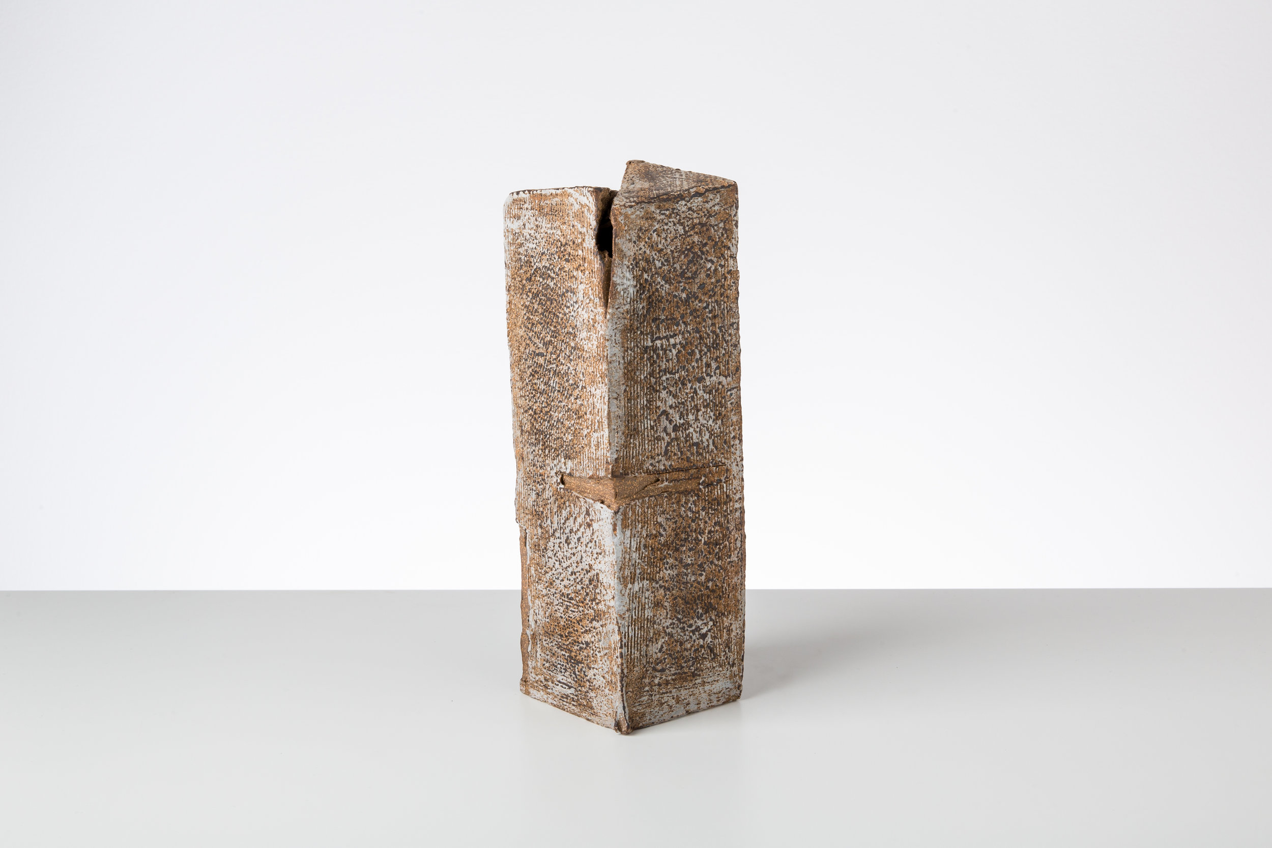 Toni Ross  Stele #11 , 2015 stoneware and slip  10 1/4 x 3 1/4 x 3 1/2 in.
