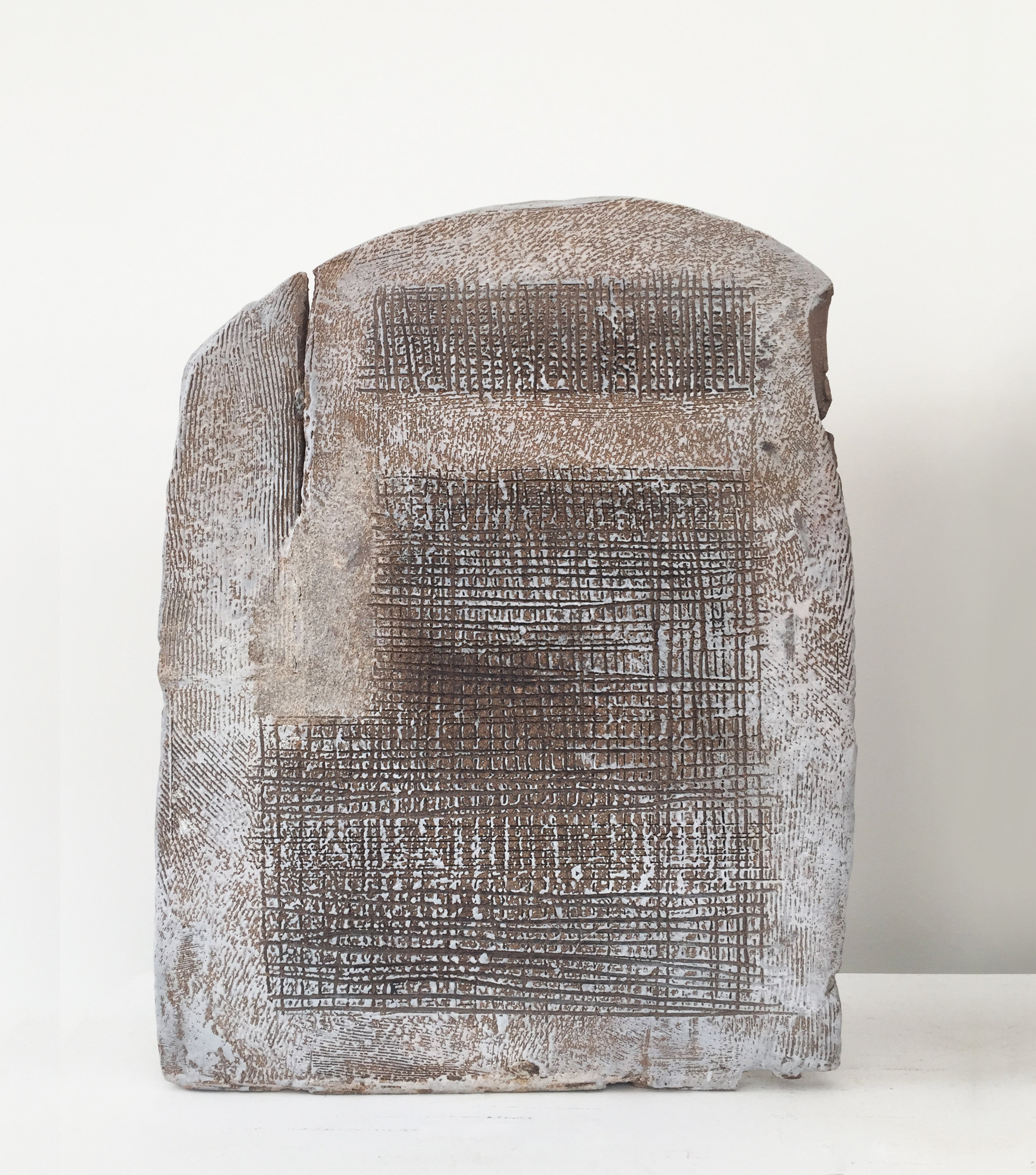 Toni Ross  Stele #28 , 2016 stoneware and slip  17 x 13 1/8 x 5 1/2 in.
