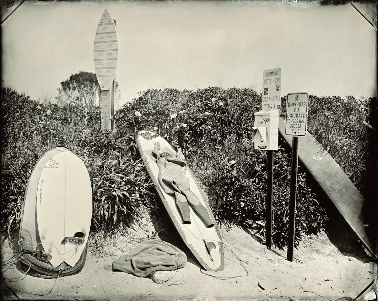 Joni Sternbach  Surfboard Still Life  unique tintype 11 x 14 in.
