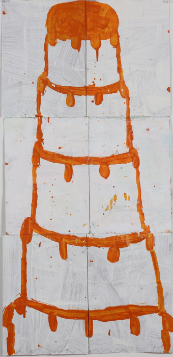 Gary Komarin  Cake Stacked: Orange on White , 2015 water-based enamel paint on paper stacks 50 x 23 1/2 in.