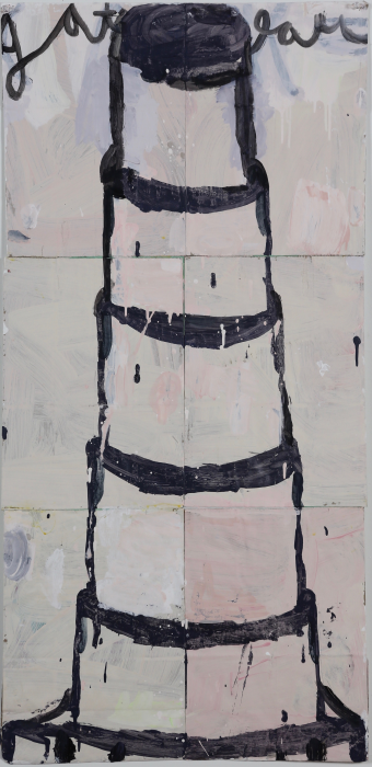 Gary Komarin  Cake Stacked: Black on Pale Pink and Grey  2015 water-based enamel paint on paper stacks 50 x 23 1/2 in.