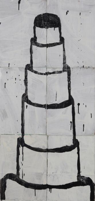 Gary Komarin  Cake Stacked: Black on White , 2015 water-based enamel paint on paper stacks 50 x 23 1/2 in.