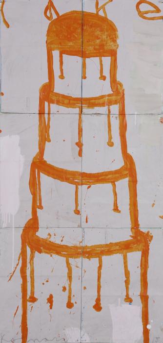 Gary Komarin  Cake Stacked: Orange and White on Pale Pink , 2015 water-based enamel paint on paper stacks 50 x 23 1/2 in.