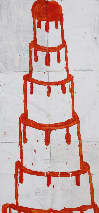 Gary Komarin  Cake Stacked: Red on White , 2015 water-based enamel paint on paper stacks 50 x 23 1/2 in.