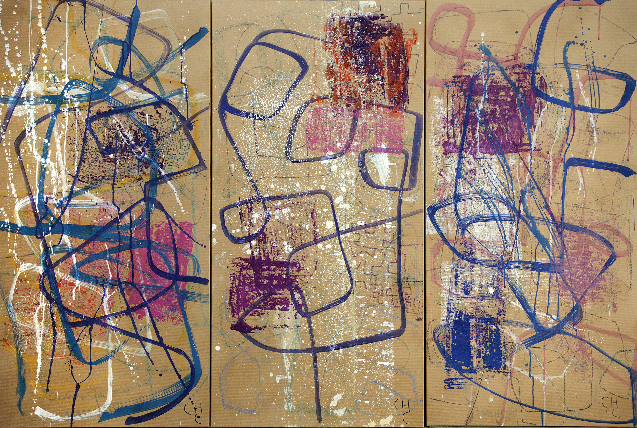 Charlotte Culot  Blue Transition 1, 2, and 3 , 2015 pigment on paper 47 x 70 1/2 in. overall SOLD