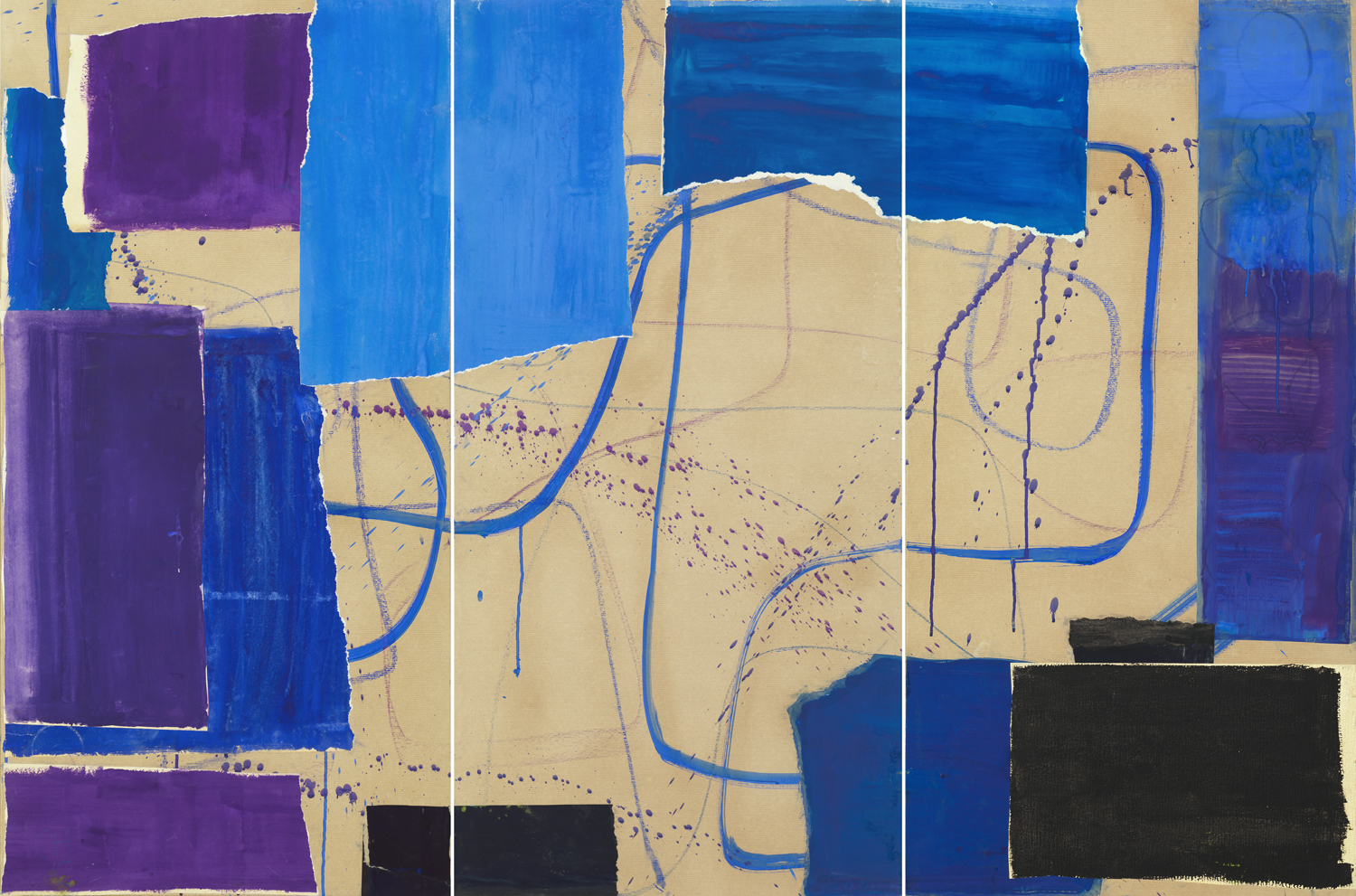Charlotte Culot  Triptyche Blue Jazzy , 2017 pigment on paper 47 1/4 x 23 1/2 x 70 3/4 in.
