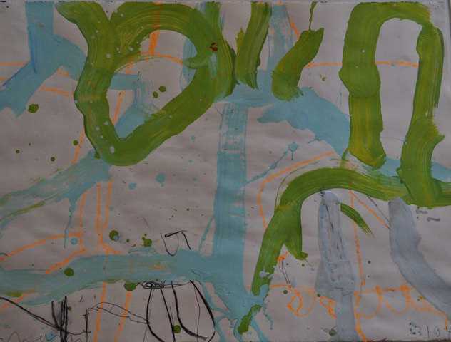 Gary Komarin  Duke & Wigmore ,2003-04 water-based enamel paint on Stonehenge paper 22 1/2 x 30 in.