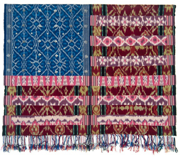 Muriel Stockdale  Bali,  2010 back strap loomed ikat fabric with traditional silver beads 25 x 33 in.
