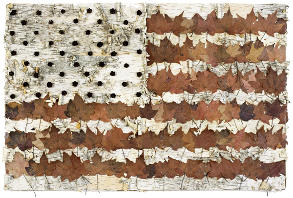 Muriel Stockdale  Canadian,  2010 24 x 33 in. natural maple leaves, birch bark and hemlock cones SOLD