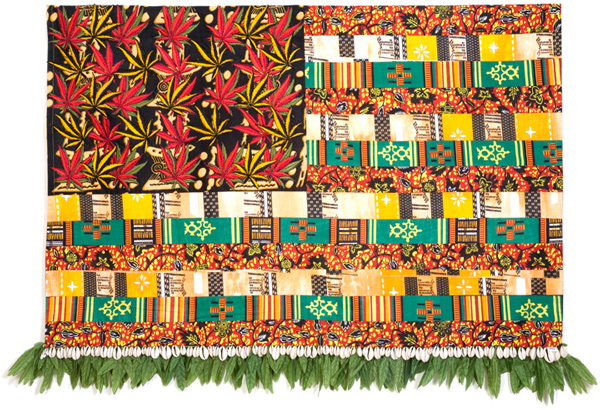 Muriel Stockdale  Jamaican,  2007 African diasporas cotton prints, cowry shells, hemp leaf trims 27 x 38 in.