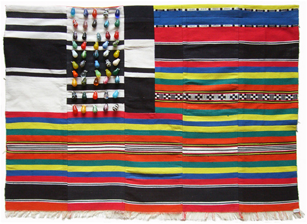 Muriel Stockdale  Mali,  2009 Mali wedding blanket and wedding beads 24 x 36 in.