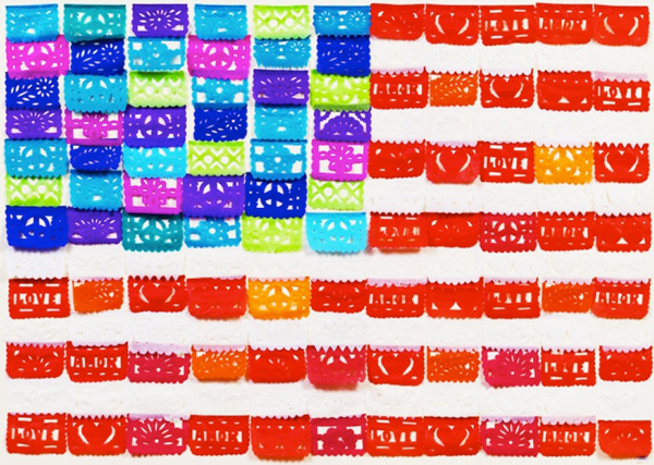 Muriel Stockdale  Mexican,  2009 papel picado (perforated paper) flags 34 x 45 in.