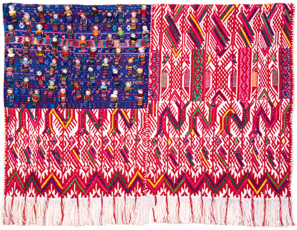 Muriel Stockdale  Mayan,  2008 Huipil hand-woven fabrics with worry dolls for stars 27 x 35 in.