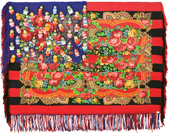 Muriel Stockdale  Russian,  2009 printed traditional woolen shawls and Matryoshka dolls 28 x 35 in.