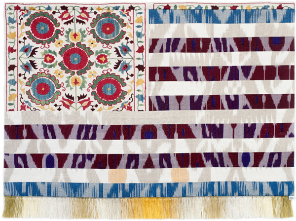 Muriel Stockdale  Uzbek,  2010 Suzani pillow cover with traditional silk ikat 24 x 35 in.