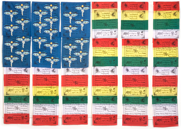 Muriel Stockdale  Tibetan,  2005 Tibetan Buddhist printed prayer flags 24 x 35 in.
