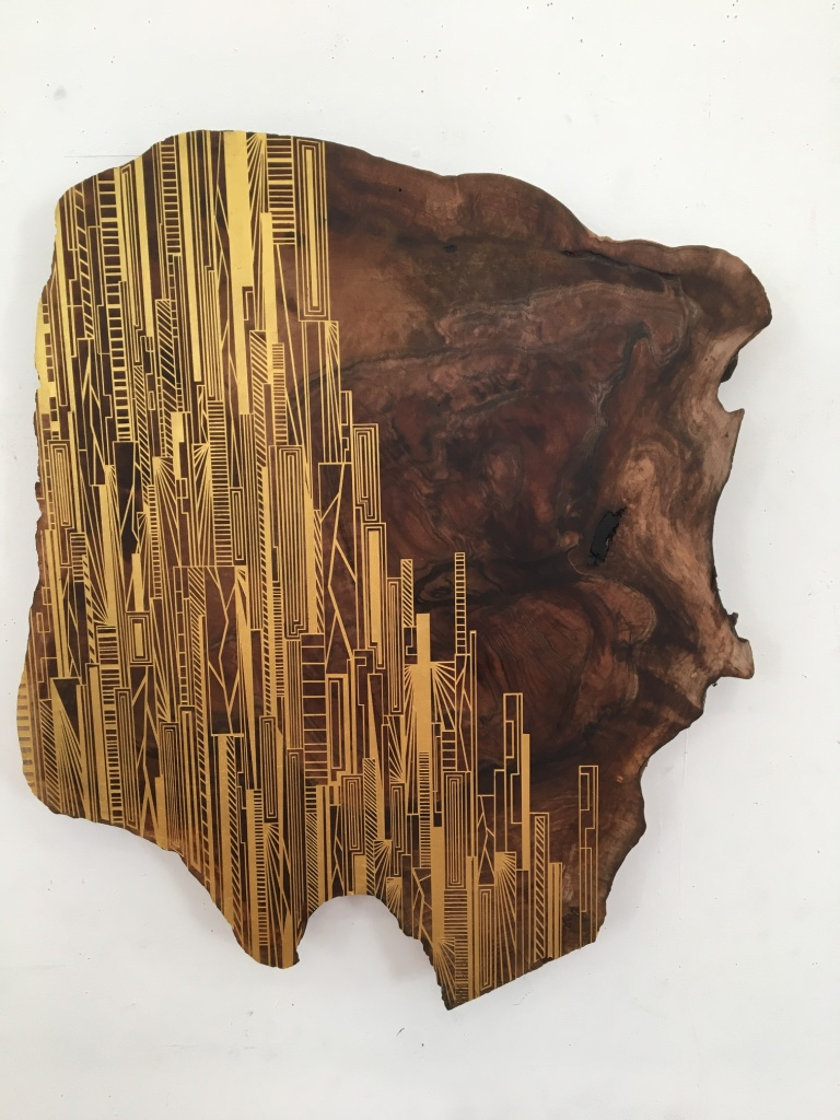 Jason Middlebrook  Building with Gold , 2016 acrylic on walnut 27 x 24 x 1 1/2 in.