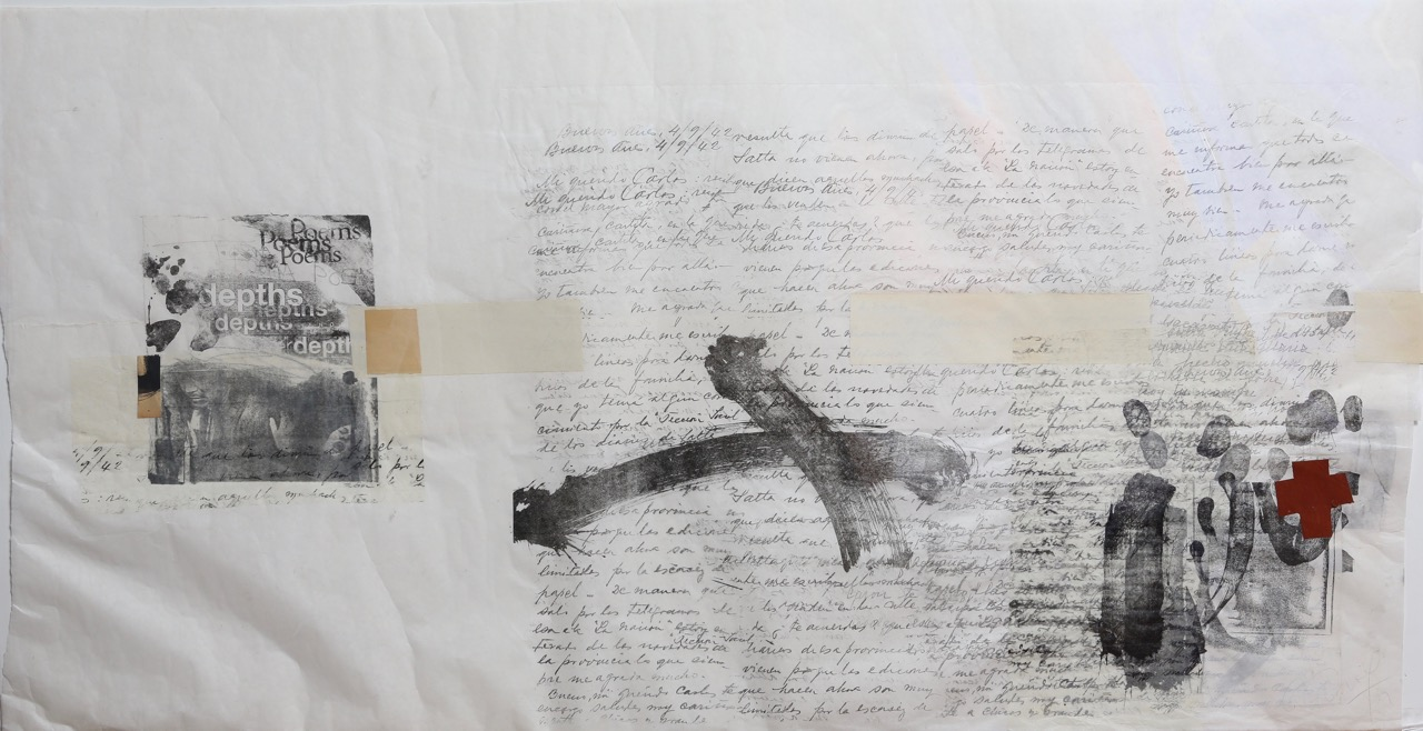 Maria Noel  Homage a [Re]Noir , 2011 lithograph, ink and collage on paper 23 1/4 x 45 in.