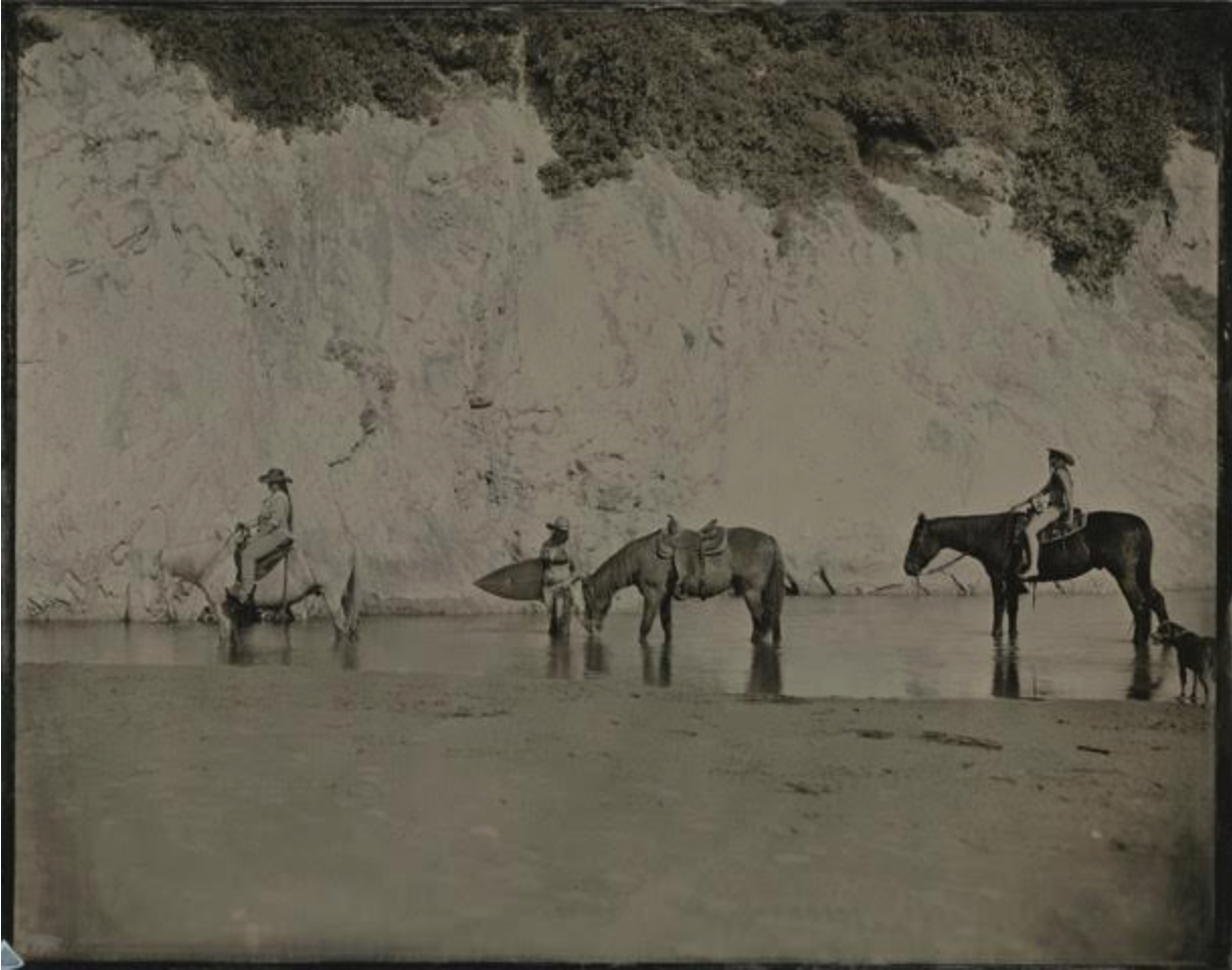 Joni Sternbach  Watering Horses, Santa Barbara  unique tintype 11 x 14 in.