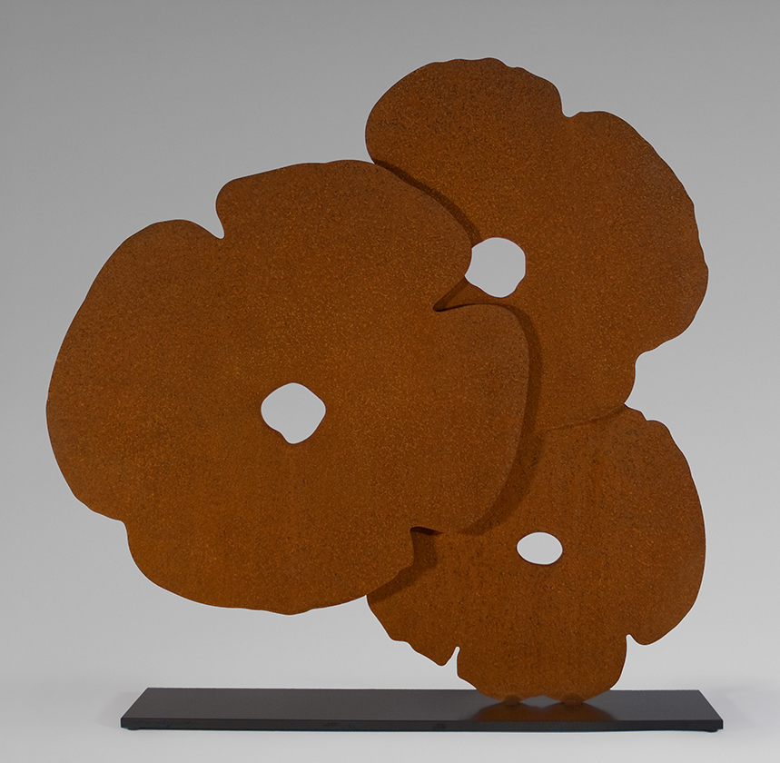 Donald Sultan  Corten Poppies , 2015 3/8 in.Corten steel on a 1/2 in.powder-coat painted stainless steel base. 36 x 39 x 7 in. edition of 12